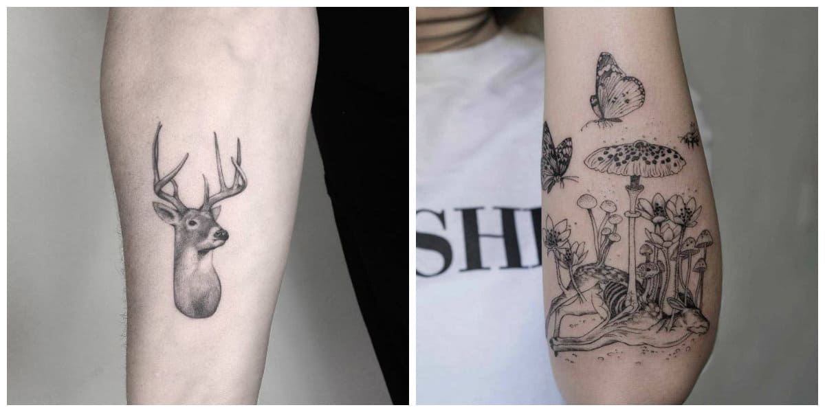 Tatuajes de ciervos- se va acompanado por otras imagenes modernas