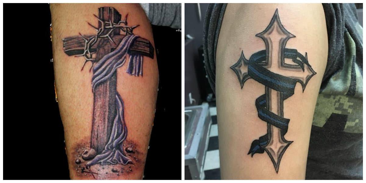 Tatuajes de cruzados- grandes cruces son popular entre los hombres
