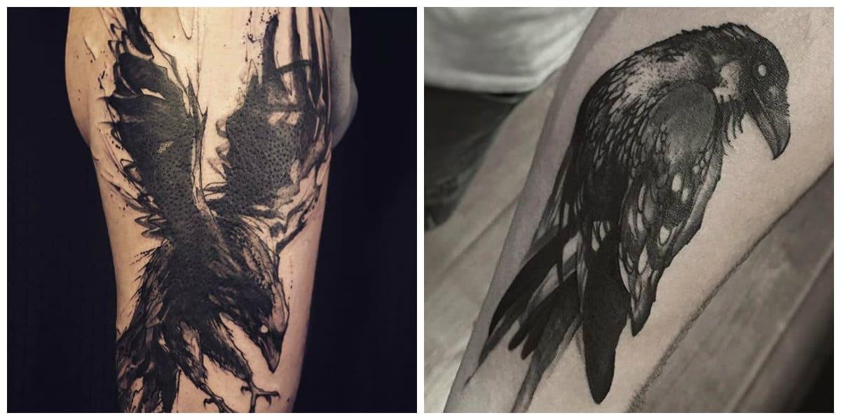 Tatuajes de cuervos- es una tendencias muy popular entre hombres