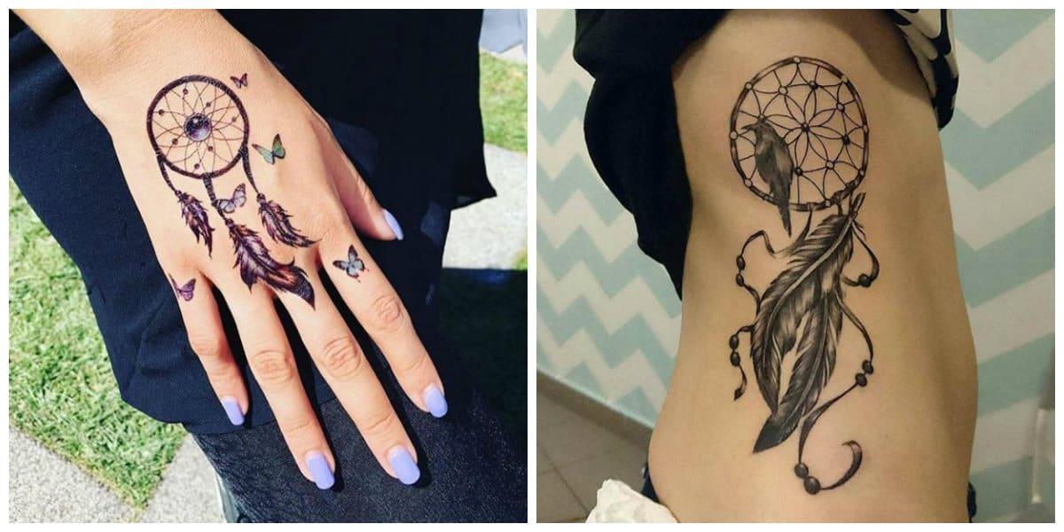Tatuajes de dreamcatcher- las mjeres y las chicas lo ponen en diferentes partes