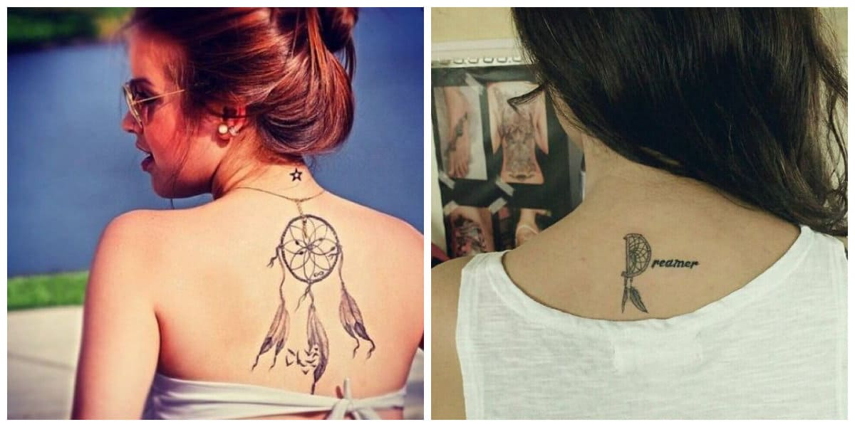 Tatuajes de dreamcatcher- la espalda es un lugar adecuado para este tipo de tatuaje