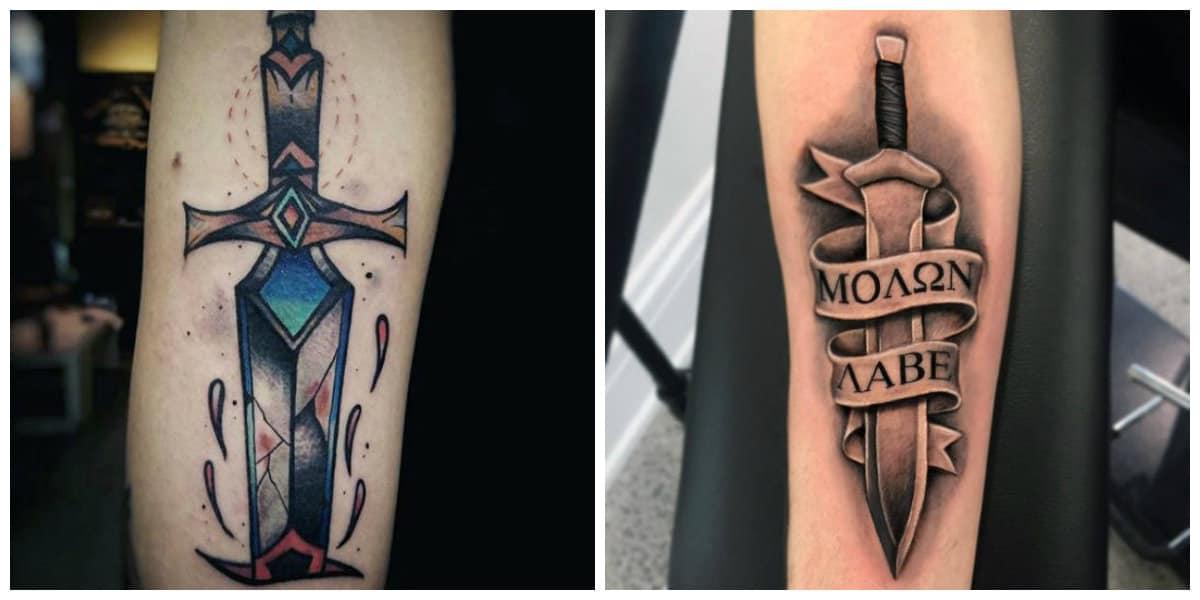 Tatuajes de espadas- ideas imnteresantes y principales de moda