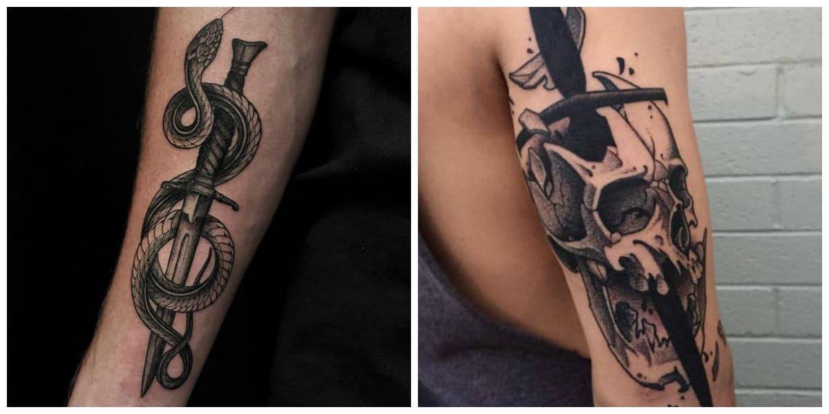 Tatuajes de espadas- imagenes de espadas acompanadas con otras