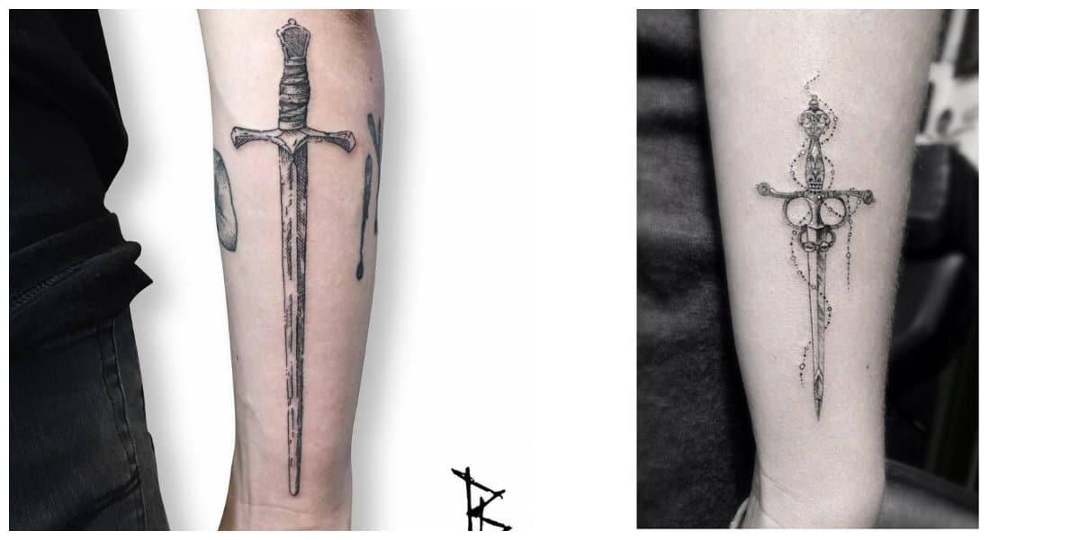 Tatuajes de espadas- estilos grandes y minimalistas de crrientes modernos