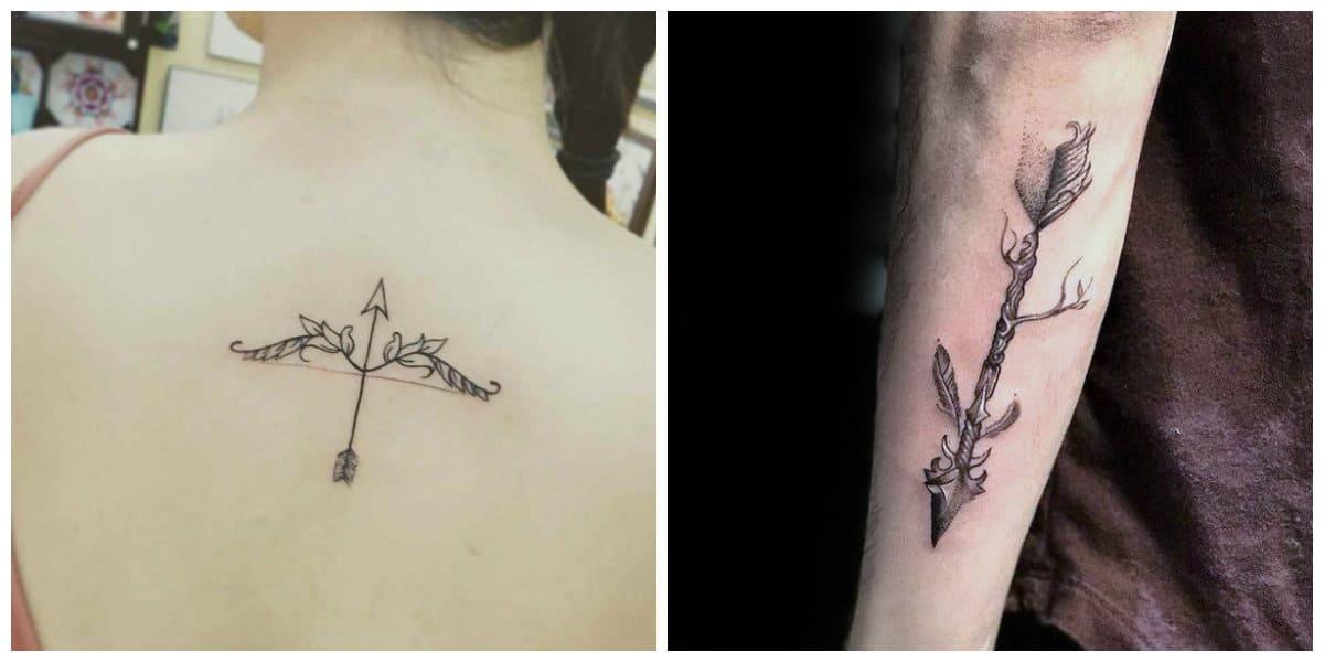 Tatuajes de flechas en el brazo- simbolo de vida y muerte