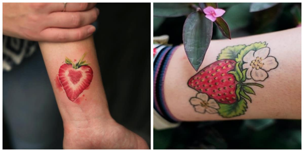 Tatuajes de fresas- lugares del cuerpo femenino para estos tatuajes