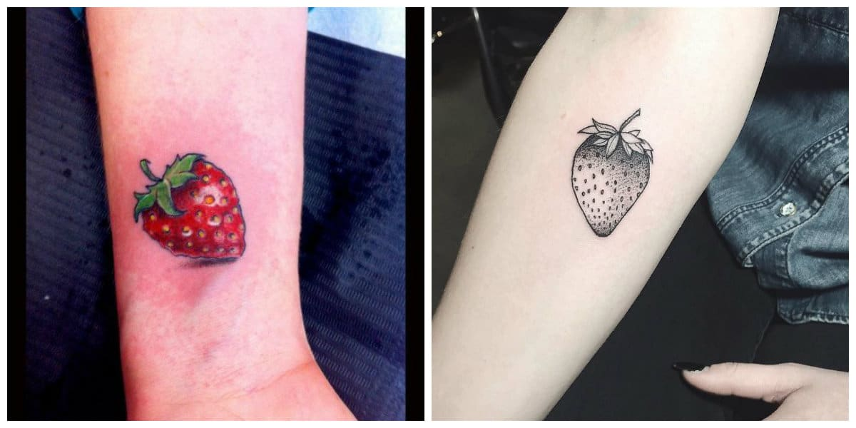 Tatuajes de fresas- se [uede hacer estos tatuajes en negro o en color rojo