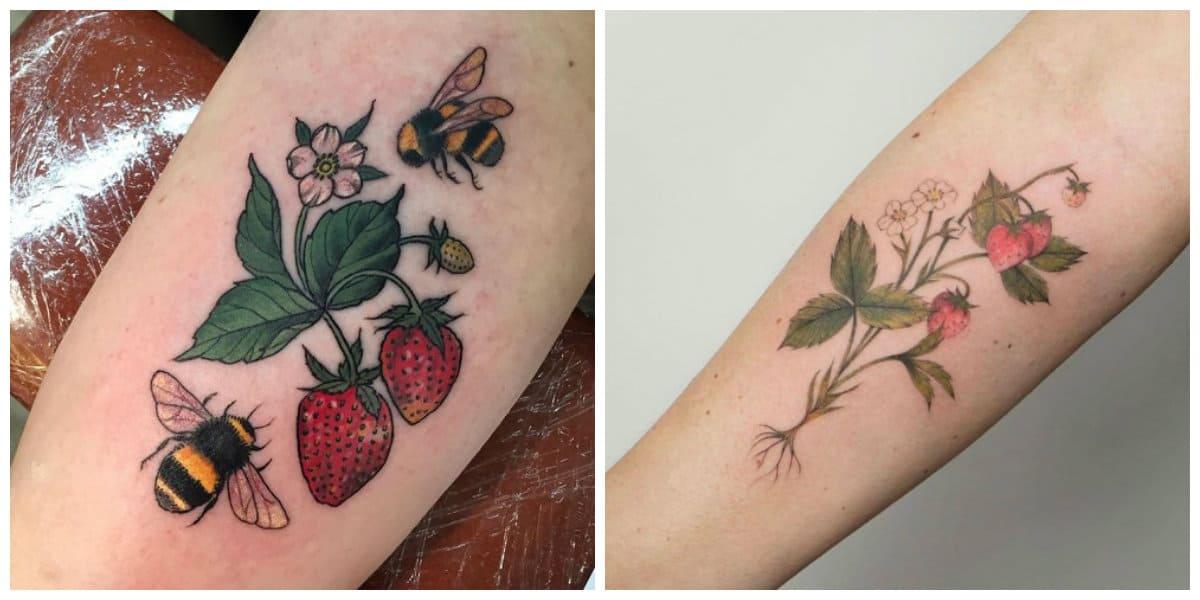 Tatuajes de fresas- pueden ir acompanado de otras imagenes modernas