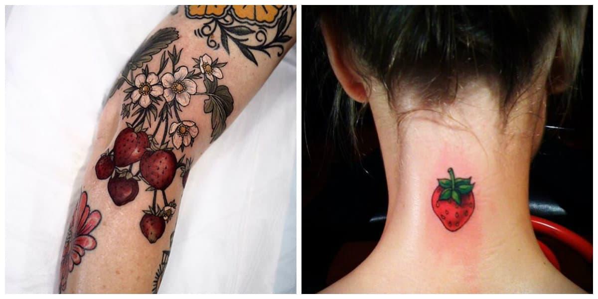 Tatuajes de fresas- es una tendencias principalmente femenina de moda