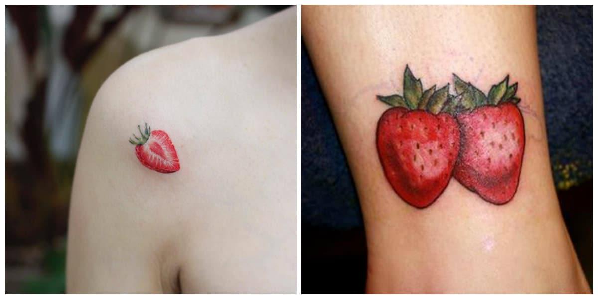 Tatuajes de fresas- las mujeres lo ponen sobre la espalda y en los brazos