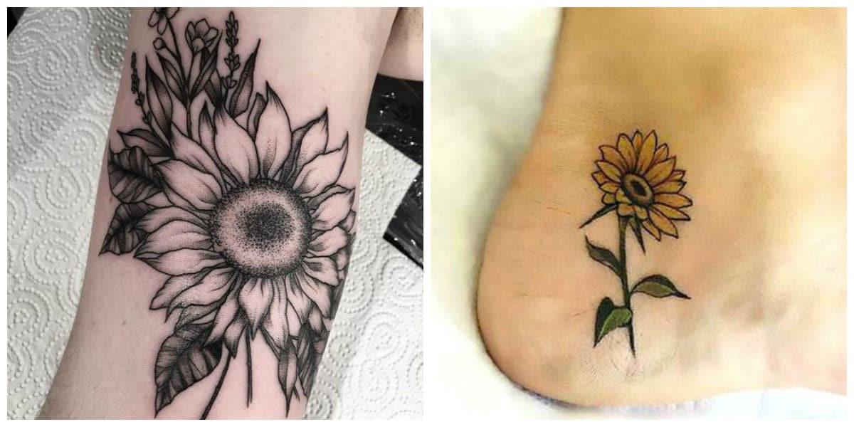 Tatuajes de girasoles- se cavan sobre las piernas y los brazos