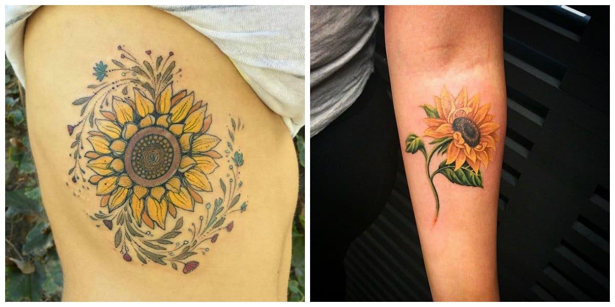 Tatuajes de girasoles- pueden ser de color amarillo asi como de naranja