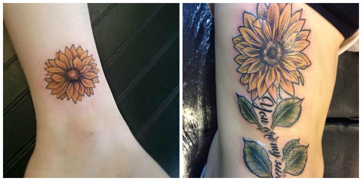 Tatuajes de girasoles- estan muy popular entre las mujeres y chicas