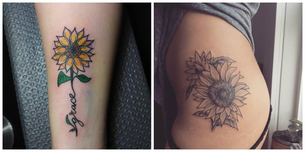 Tatuajes de girasoles- pueden ser en color amarillo natural o simplemente negro