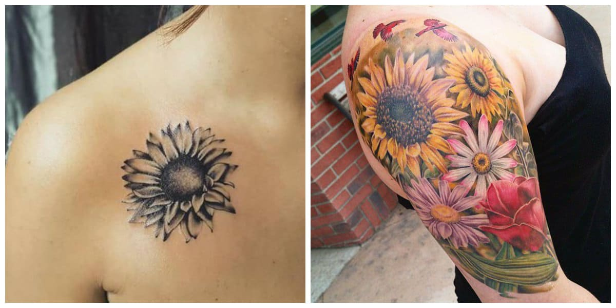 Tatuajes de girasoles- pueden ponerse en la parte superior de la espalda