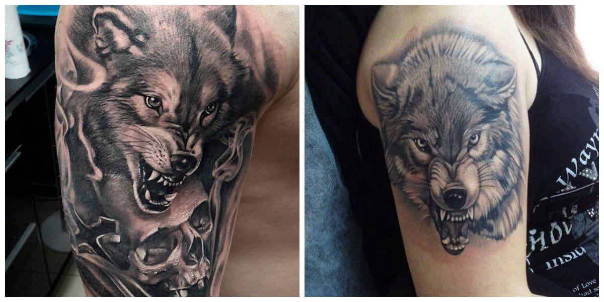 Tatuajes de lobos en el hombro- tendencia de moda masculina