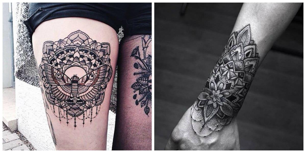 Tatuajes de mandalas- brazo es una parte de cuerpo adecuado de tatuajes