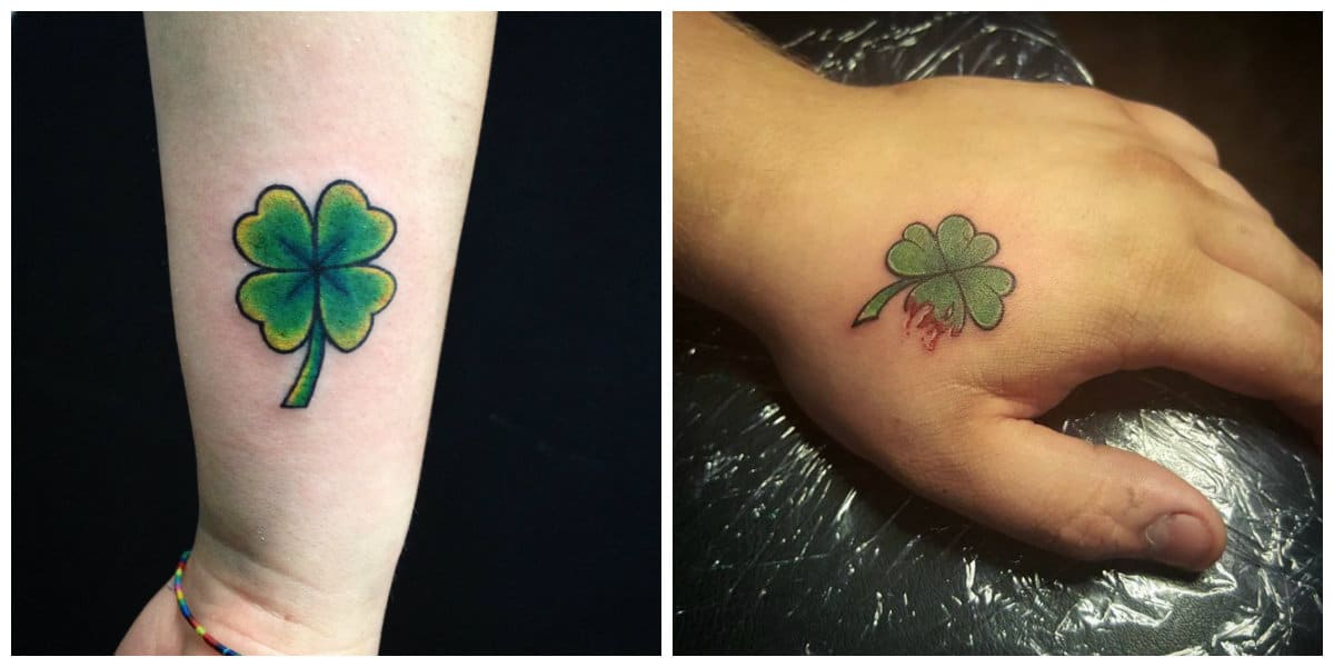 Tatuajes de trebol- simbolo de muerte y vida en un lugar