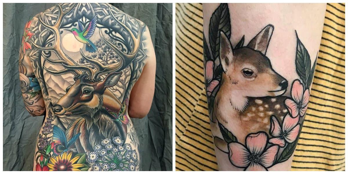 Tatuajes de venados- las mujeres pueden ponerlo sobre toda la espalda