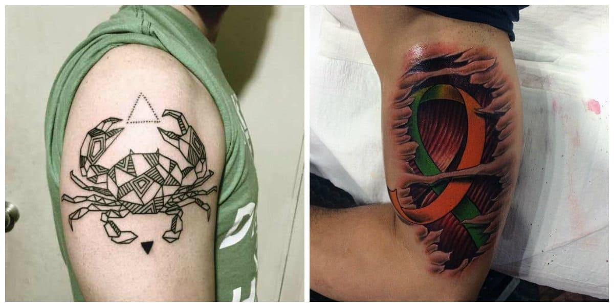 Tatuajes del signo Cancer- puede ser de diferentes colores de moda