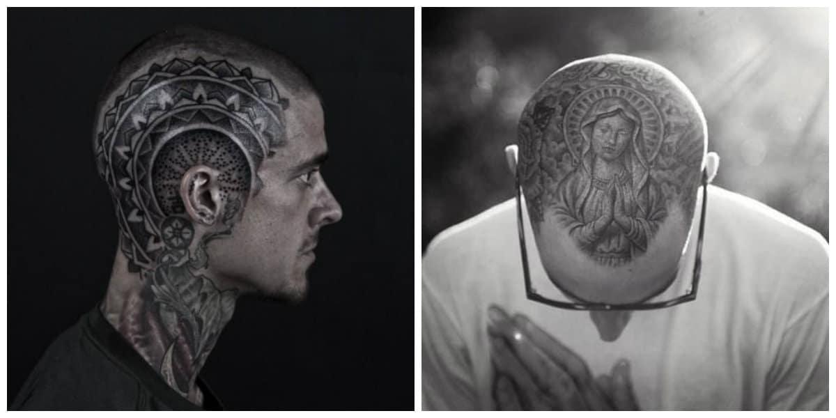 Tatuajes en la cabeza- los hombres prefieren de tamanos grandes abarcando