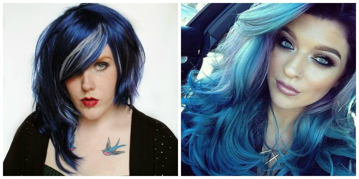 Cabello azul- tonalidades del color azul de moda