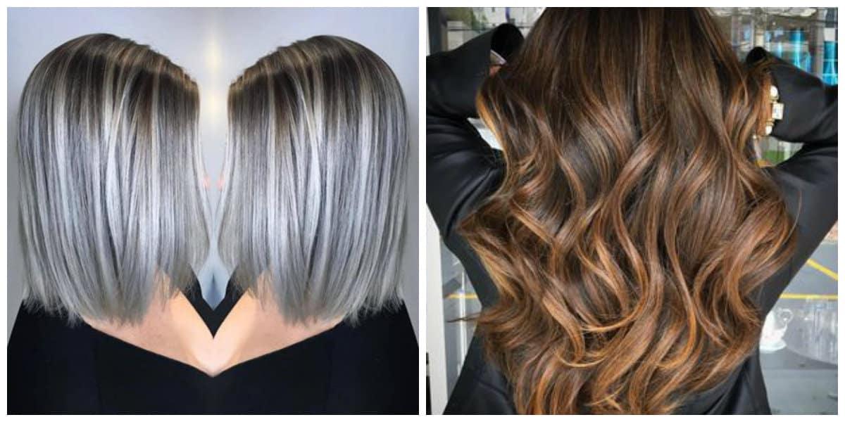Color de pelo balayage- contraste de colores de moda