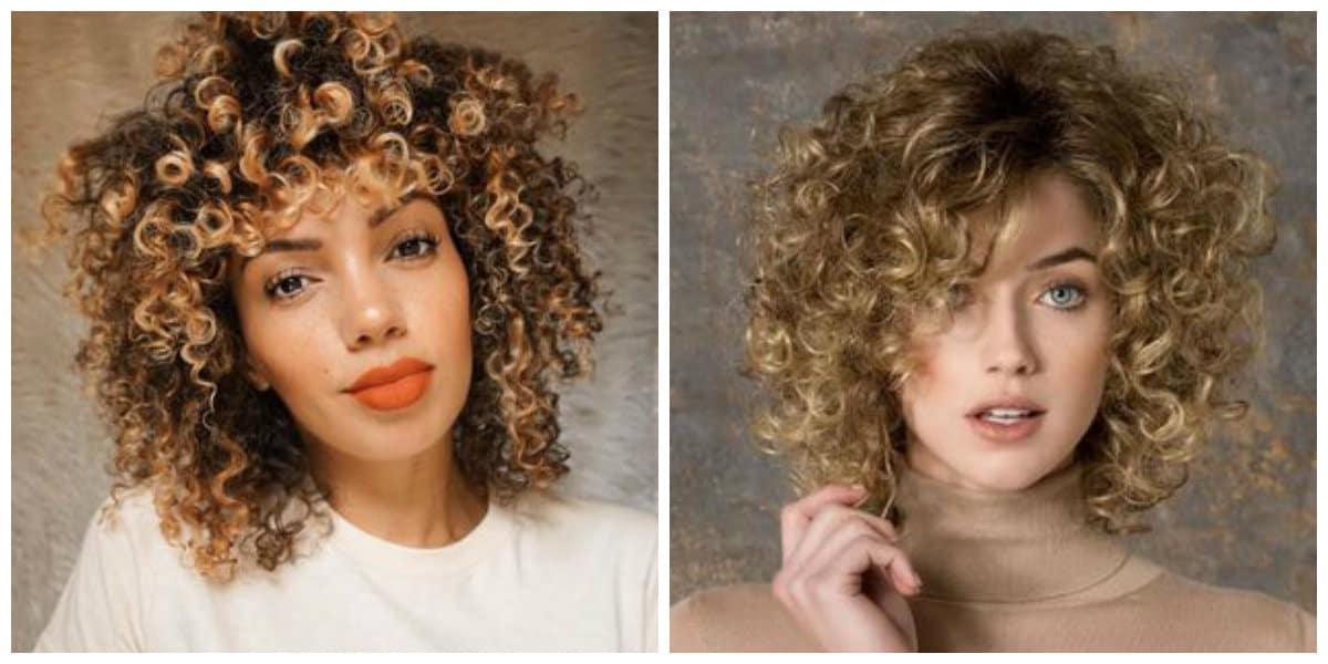 Peinados pelo rizado 2019- pelo de color muy claro de moda