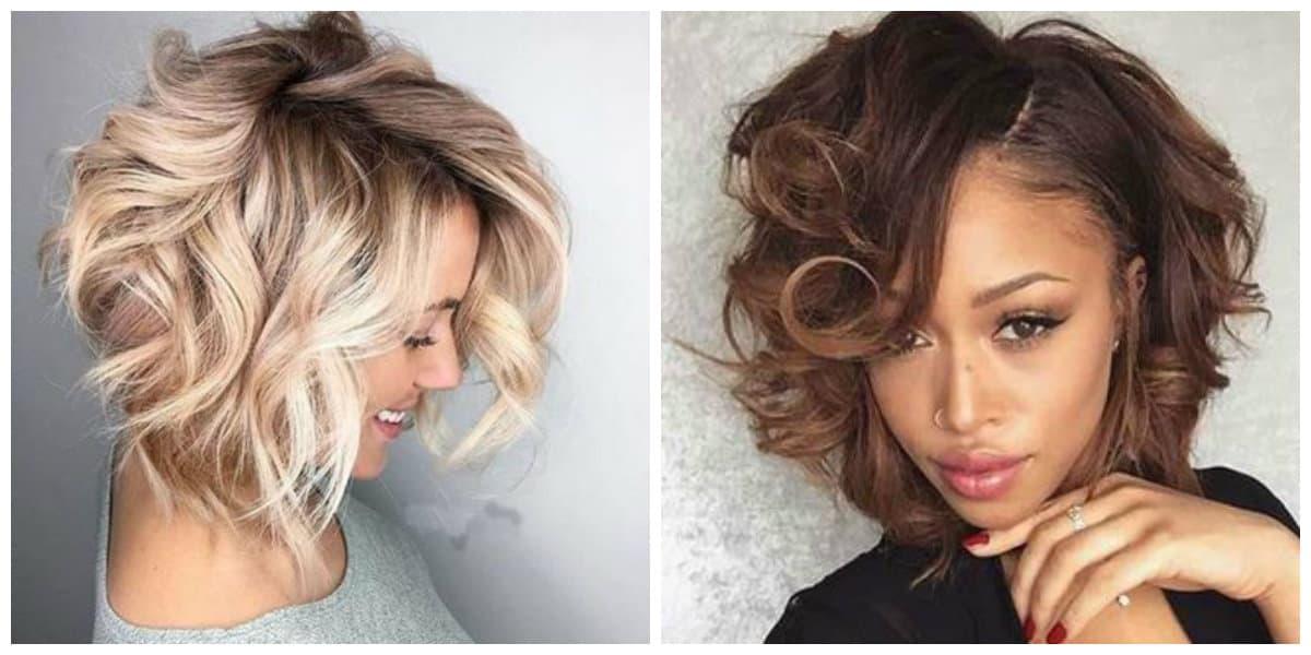 Peinados rizados 2019- pelo corto para mujeres